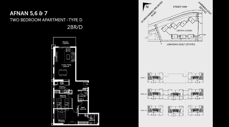 Midtown Afnan 2bed 4 floorplan, Dubai, UAE