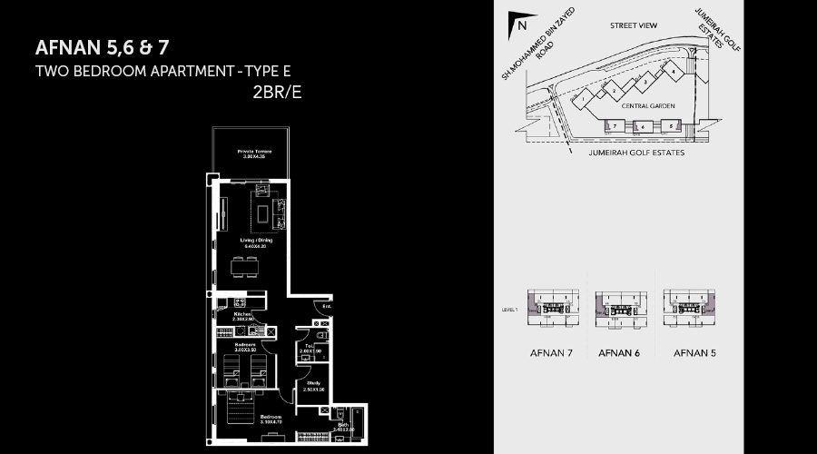 Midtown Afnan 2bed 5 floorplan, Dubai, UAE