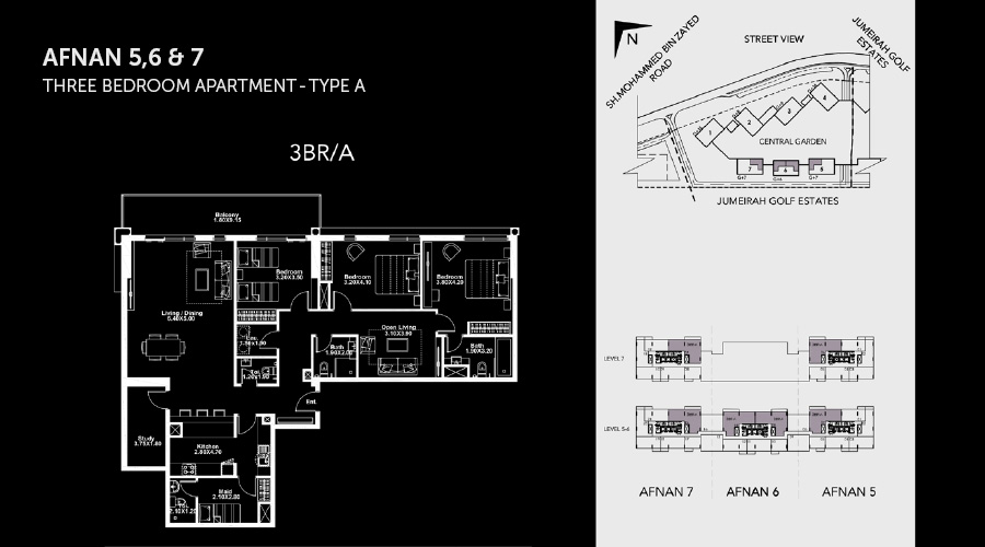 Midtown Afnan 3bed floorplan, Dubai, UAE