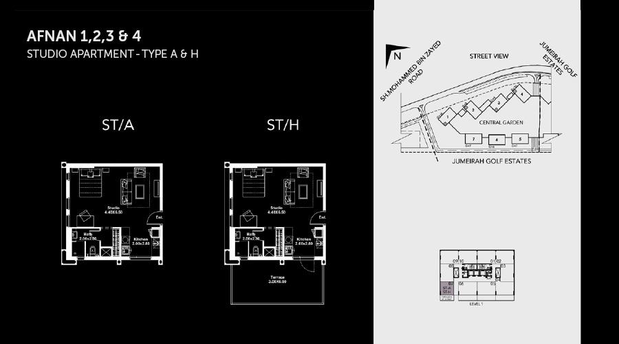 Midtown Afnan Studio floorplan, Dubai, UAE