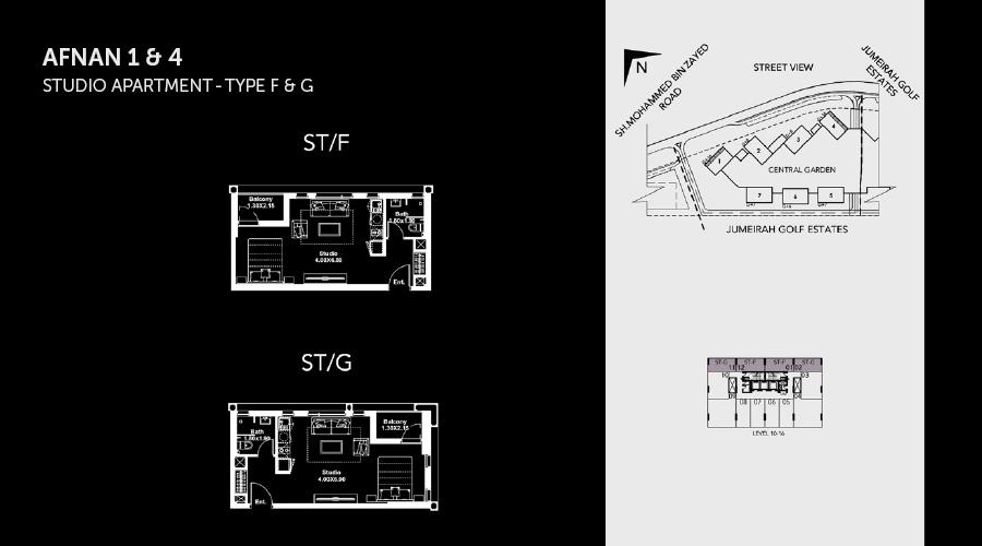 Midtown Afnan Studio 3 floorplan, Dubai, UAE