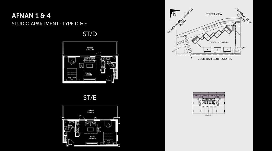 Midtown Afnan Studio 4 floorplan, Dubai, UAE