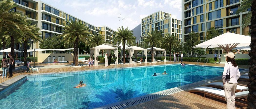 Midtown Afnan swimming pool, Dubai, UAE