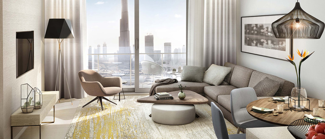 Vida Residences Dubai Mall living room, Dubai, UK