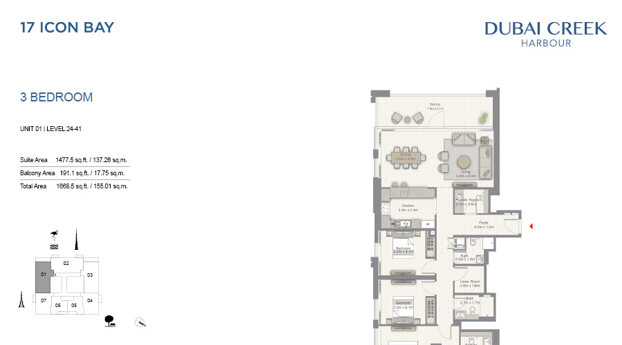 17 Icon Bay floorplan 15, Dubai Creek Harbour, Dubai, UAE