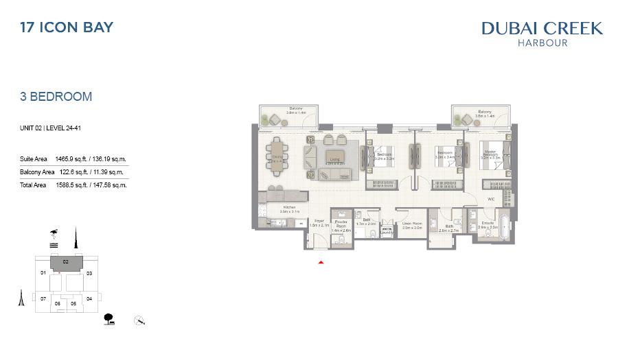 17 Icon Bay floorplan 16, Dubai Creek Harbour, Dubai, UAE
