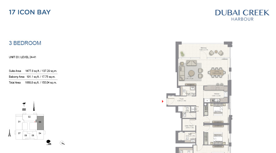 17 Icon Bay floorplan 17, Dubai Creek Harbour, Dubai, UAE