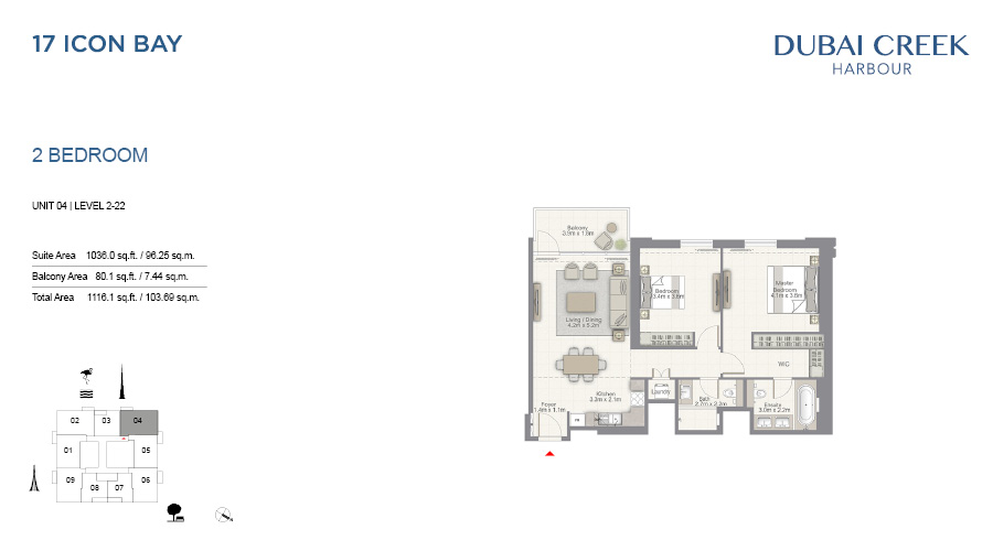17 Icon Bay floorplan 4, Dubai Creek Harbour, Dubai, UAE