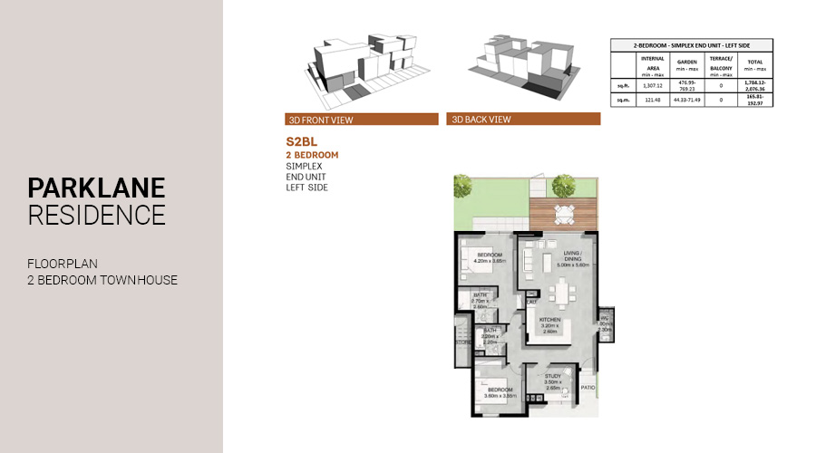 Park Lane, 2 Bed Townhouse floorplan, Dubai South, UAE