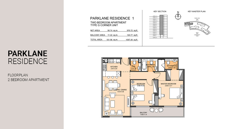 Park Lane, 2 Bed floorplan, Dubai South, UAE