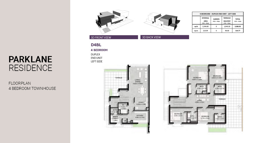 Park Lane, 3 Bed Townhouse floorplan, Dubai South, UAE