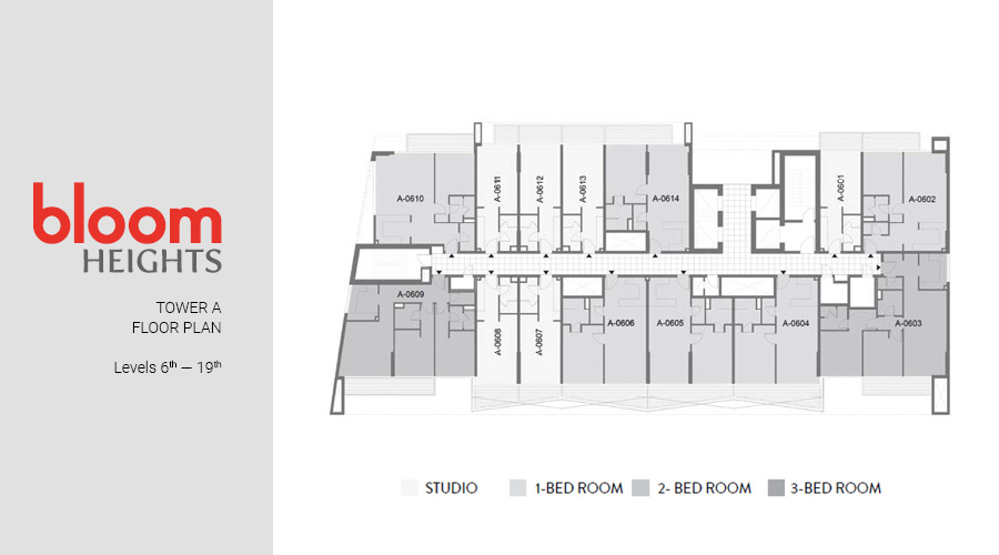 Bloom Heights, Tower A Levels 6th — 19th floorplan, Dubai South, UAE
