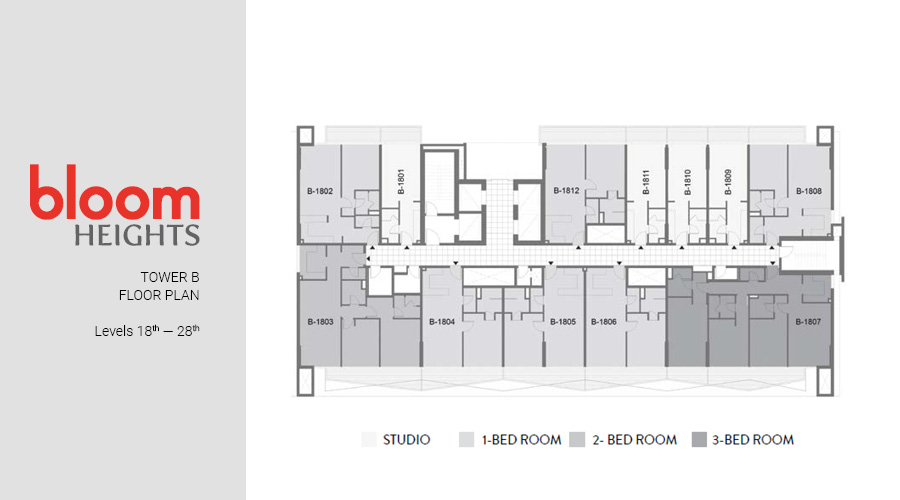 Bloom Heights, Tower B Levels 18th — 28th floorplan, Dubai South, UAE