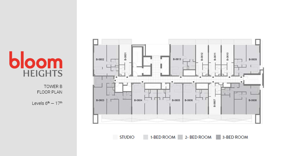 Bloom Heights, Tower B Levels 6th — 17th floorplan, Dubai South, UAE