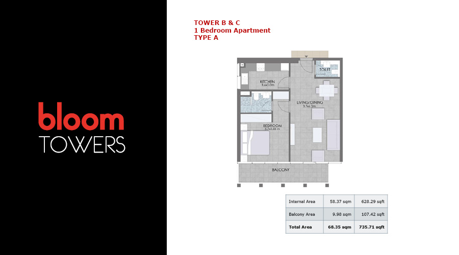 Bloom Towers, 1-bed type A floorplan , Dubai, UAE
