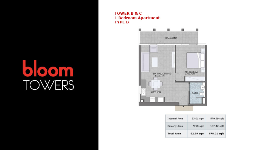 Bloom Towers, 1-bed type B floorplan , Dubai, UAE