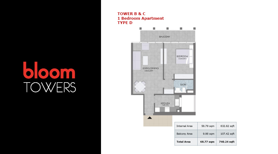 Bloom Towers, 1-bed type D floorplan , Dubai, UAE