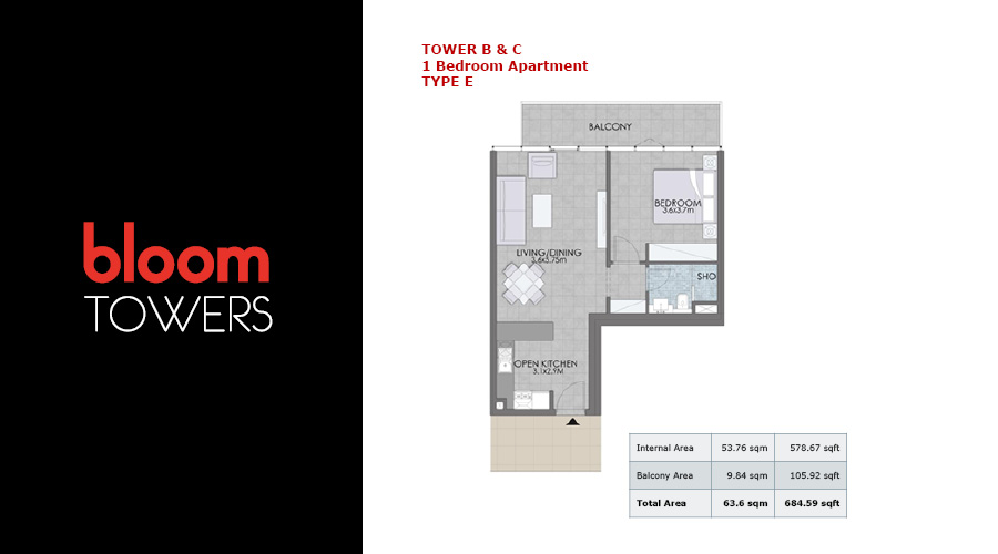 Bloom Towers, 1-bed type E floorplan , Dubai, UAE