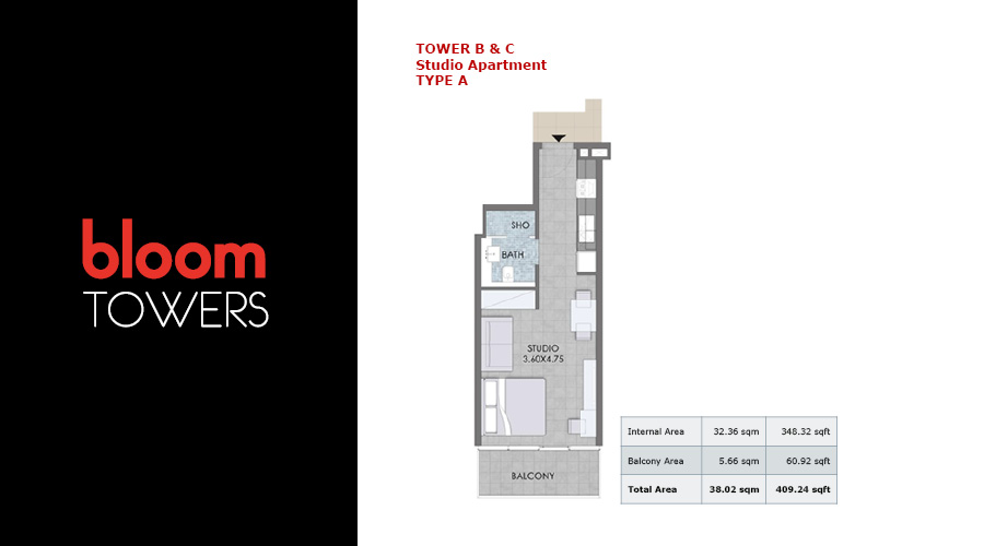 Bloom Towers, studio type A floorplan , Dubai, UAE