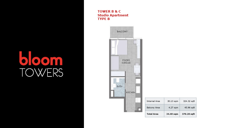 Bloom Towers, studio type B floorplan , Dubai, UAE