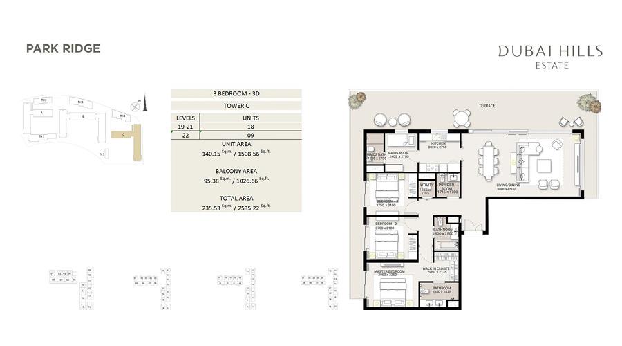 Park Ridge floorplan 9, Dubai Hills Estate, Dubai, UAE